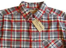 Men's TALL PINES WOOLRICH Gray Red Plaid Flannel Cotton Shirt XXL (2XL) NWT NEW