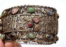 Chinese Gilt Silver Jade Jadeite Tourmaline Gem Carved Bead Bracelet Bangle Mk