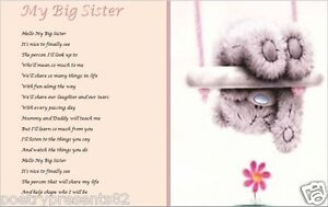 BIG SISTER GIFT - from new baby - laminated gift (WRITTEN BY SELLER)