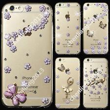 Bling Purple Flower Transparent Soft TPU Ultra Thin Back Case Cover Skin C12 #2