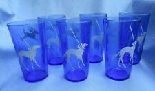 6 Borzoi Boston Scottish Terrier Pekingese Dog Cobalt Blue Glasses Hazel Atlas