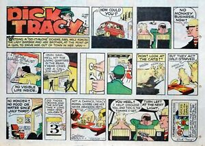 Dick Tracy by Chester Gould - large half-page color Sunday comic - July 6, 1975