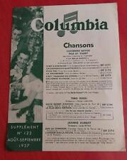 Programme COLUMBIA n°123 Lucienne Boyer, Pils Tino Rossi, Jeanne Aubert.. 1937 *