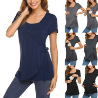 Women Mom Pregnancy Maternity Solid Short Sleeve Top T Shirt Wrap Nursing Blouse