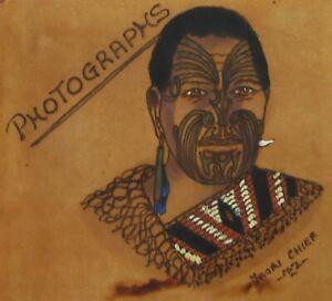 Vintage New Zealand Maori Warrior Photo Album Leather (Empty) Souvenir 1940-50s