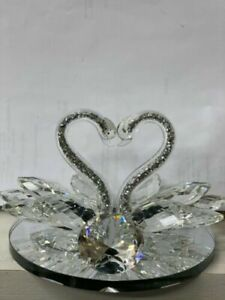 Silver Mirrored Crushed Crystal Diamond Swan Ornament, Sparkling Bling Home Gift