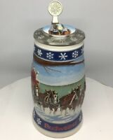 1995 Budweiser Holiday Signature Edition Lidded Stein with Artist Signature