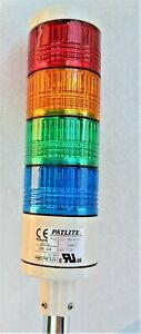 PATLITE LES_02A 4-LIGHT RED AMBER GREEN BLUE 24V ACDC SIGNAL STACK LIGHT TOWER