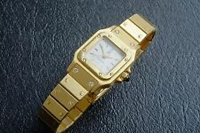 AUTH. CARTIER 18K SOLID GOLD  SANTOS TANK DIAMOND SULTAN OF OMAN DIAL WATCH RING