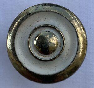 True Vintage Drawer Pull brass gold shabby white enamel paint dresser cabinet