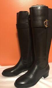 Isaac Mizrahi Live Women's Black Senso Leather Knee-High Boots 6.5W or 8W New