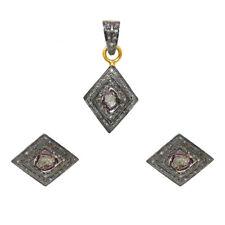 925 Sterling Silver Women Gemstone Plated Dangle Earring Pendant Jewelry Set