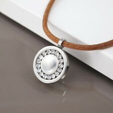 Silver Chrome Round Crystal Bling Pendant Womens Brown Leather Choker Necklace