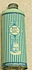 VINTAGE LANA BORATED BABY TALCUM TALC, LITHO, GRAHAM BROS SOAP CO. CHICAGO