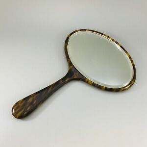 Art Deco Vintage Faux Tortoiseshell Celluloid Plastic Hand Vanity Bevel Mirror