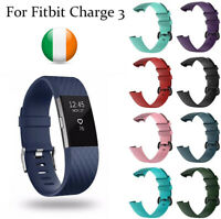 Watch Strap Buckle for Fitbit Charge 3 Replacement Luxury Silicone Band Large