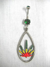 NEW RASTA COLOR POT LEAF DROPLET ON GREEN CZ BELLY BUTTON RING BODY JEWELRY