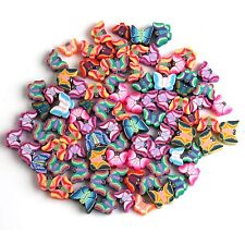 100x Bulk Mixed Colors Butterfly Fimo Polymer Clay Spacer Beads Charm Hole 1.5mm