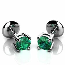 May Birthstone Green Columbian Natural Round Emerald Stud Earrings in 14k W'Gold