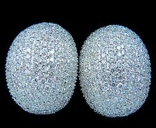 $35000 10.02CT 18KT RAISED PUFF DOMED DIAMOND CLUSTER EARRINGS F/VS BEAD SET