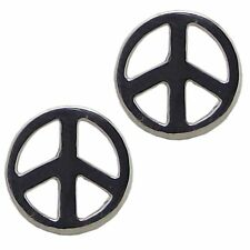 Pair of PEACE SIGN STUD EARRINGS 925 Sterling SILVER 8mm Diameter : CND Ban Bomb
