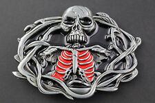 Rojo Negro Esqueleto Horror Hebilla de Cinturón Metal DEMON ojos