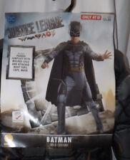 DC JUSTICE LEAGUE BATMAN COSTUME PADDED JUMPSUIT CAPE MASK SZ LARGE 12-14 NIP