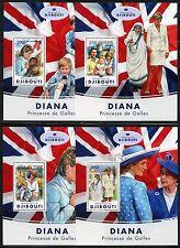 Djibouti 2017 Princess Diana Set Of Four Souvenir Sheets Mint