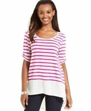 NWT Style&co. Women's Multi-Color Striped Short Sleeve Top Blouse Size: PXL
