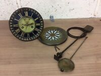 Antique French Mantle Clock Brocot Movement, Face, Pendulum Etc. Victor Reclus
