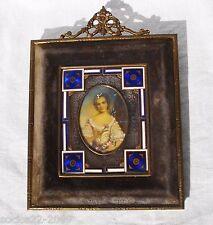 Antique Miniature Portrait Beautiful Lady in Bronze and Enamel Frame
