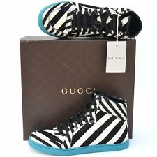 GUCCI New sz 38 G - US 8.5 Authentic Womens Calf Fur High Top Shoes Sneakers