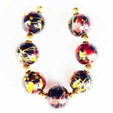 7Pcs/set 10mm Red/Gold/Black Titanium Crystal Round Ball Pendant Bead F41516