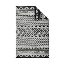 Tapis d'extérieur 180x270cm BAMAKO - Rectangulaire. motif ethnique noir / beige.