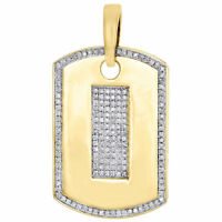 "10K Yellow Gold Diamond Dog Tag Pendant 1.30"" Mens Round Pave Charm 0.38 Ct."