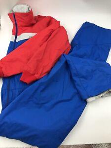 Vtg Helly Hansen 80's One Piece Snow Ski Suit Bib Blue Red Size Medium