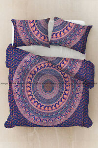 Indian mandala peacock duvet cover boho bohemian cotton bedding set quilt cover