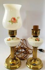 Pair Vintage Quoizel Table Night Stand Lights Bedside Bordeaux Lamps, Brass