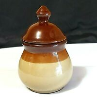"Vintage Sugar Bowl Brown Glaze Covered  5-1/2"" Tall Preowned"