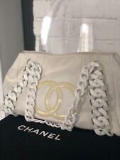 Authentic Chanel white leather plastic chain CC logo tote bag