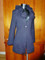 ~ SOFT SURROUNDINGS ~ Black Alpaca Wool knit Rosette Ruffle Cardigan Sweater