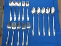 5 1847 Rogers Bros Silverplate Ice Cream Forks, 5 Wm Rogers Ice Tea Spoons/Forks
