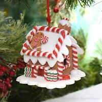 Lighted Gingerbread House & Man with Peppermint Buttons Christmas Tree Ornament