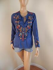 johnny was blouse, cotton, embroidered, indigo blue