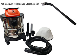 Fireplace ~ Stove ~ Grill Ash Vacuum ~ Dual Filtration + Hardened Steel Scraper