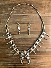 Pink Mussel Shell Squash Blossom Necklace Set Zuni