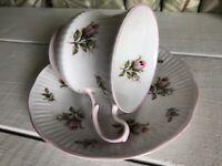 Vintage Royal Dover Bone China Tea Cup & Saucer Made In England Dark Pink Rose