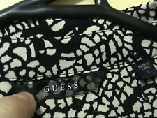 Guess long sleeved cream black patterned high-lo button down womens shirt Large