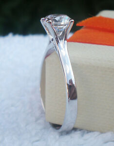 Beautiful Ring Size X White Stone 6.50mm Solitaire Ladys 925 Sterlyng Silver