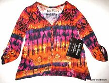 ONQUE NWT Womens S SMALL Orange Pink Print V-Neck Cardigan Shirt Top NEW